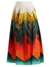 MARY KATRANZOU   Bowles Folk-print cotton-poplin midi skirt   Clouty
