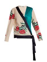 Diane Von Furstenberg | Farren-print contrast-panel woven top | Clouty