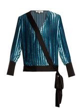 Diane Von Furstenberg | Crossover-front striped velvet top | Clouty