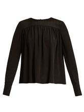 Diane Von Furstenberg | Gathered double-cuff silk-georgette blouse | Clouty