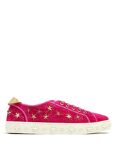 Aquazzura | Cosmic Star embellished suede trainers | Clouty