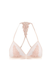 Fleur Of England | Sheer and lace satin soft-cup triangle bra | Clouty