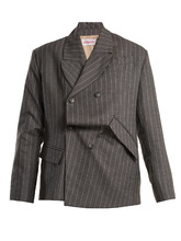 charles jeffrey loverboy | Distressed double-breasted pinstripe wool blazer | Clouty