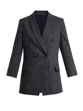 Brunello Cucinelli | Double-breasted pinstriped linen-blend blazer | Clouty