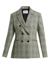 MSGM | Checked double-breasted wool blazer | Clouty