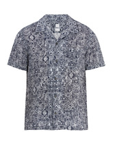 120% Lino | Short-sleeved Aztec-pattern linen shirt | Clouty