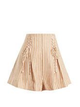 Zimmermann | Painted heart lace-up striped linen shorts | Clouty