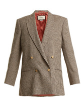 GUCCI | Double-breasted checked linen blazer | Clouty