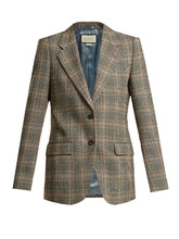 GUCCI | Prince of Wales-check wool oversized blazer | Clouty