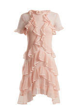 Alexander McQueen | Short-sleeve lace-knit ruffle mini dress | Clouty