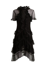 Alexander McQueen | Short-sleeved lace-knit ruffle mini dress | Clouty