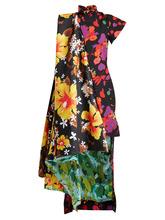 RICHARD QUINN | Contrast-panel dip-hem floral-print satin dress | Clouty