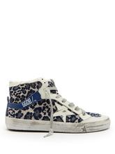 Golden Goose Deluxe Brand   Leopard-print velvet high-top trainers   Clouty