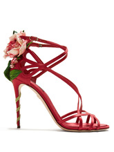 Dolce & Gabbana | Keira rose-applique satin stiletto sandals | Clouty