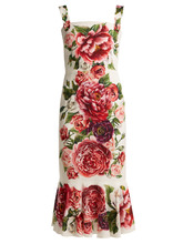 Dolce & Gabbana | Peony-print silk-charmeuse dress | Clouty