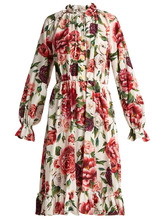Dolce & Gabbana | Silk crepe de Chine rose and peony-print dress | Clouty