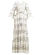 Etro | Lace-trimmed floral-print cotton-blend dress | Clouty