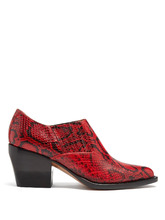 Chloé | Rylee snake-effect leather ankle boots | Clouty