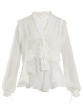 Jonathan Simkhai   Lace-insert silk blouse   Clouty
