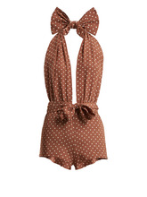 Alessandra Rich | Polka-dot halterneck crepe de Chine playsuit | Clouty