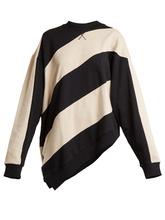 MARQUES'ALMEIDA   Asymmetric-hem striped cotton sweatshirt   Clouty