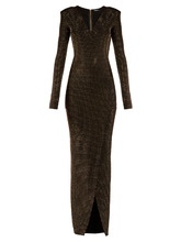 BALMAIN | Deep V-neck embellished crepe-jersey gown | Clouty