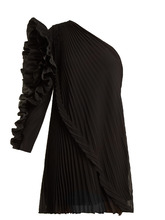GIVENCHY | One-shoulder pleated silk-georgette dress | Clouty