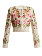 Andrew Gn | Floral-embroidered linen-blend jacket | Clouty