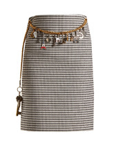 Balenciaga | Houndstooth chain-belt pencil skirt | Clouty