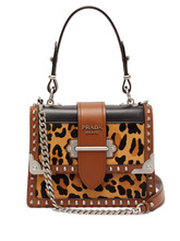 PRADA | Cahier leopard-print and leather shoulder bag | Clouty