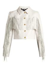 Diane Von Furstenberg | Cropped fringed leather biker jacket | Clouty