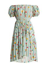 Caroline Constas | Striped floral-print cotton-blend dress | Clouty
