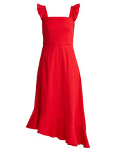 Staud | Valentina cotton-poplin asymmetric dress | Clouty
