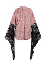 Balenciaga   Contrast-sleeve striped cotton shirt   Clouty