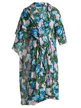 Balenciaga | Draped floral-printed midi dress | Clouty