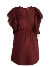 See by Chloé | Embroidered sleeve Poplin day dress | Clouty