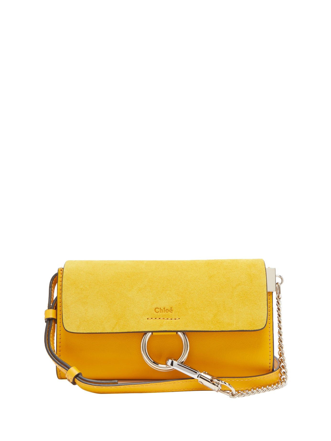 Chloé | Faye leather and suede cross-body wallet bag | Clouty
