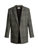 SAINT LAURENT | Prince of Wales-check wool-blend jacket | Clouty