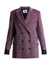 MSGM | Prince of Wales-checked velvet blazer | Clouty