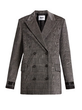 MSGM | Prince of Wales-checked brushed-velvet blazer | Clouty