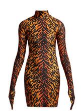 VETEMENTS | Tiger print glove-sleeved jersey dress | Clouty