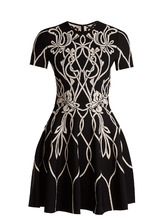 Alexander McQueen | Art Nouveau-intarsia short-sleeved dress | Clouty