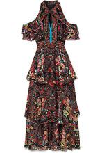 Etro | Etro - Cold-shoulder Printed Silk-georgette Maxi Dress - Black | Clouty