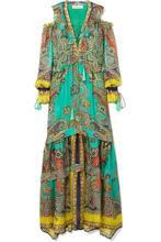Etro | Etro - Printed Silk Maxi Dress - Turquoise | Clouty
