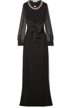 GIVENCHY | Givenchy - Embellished Silk And Tulle-trimmed Stretch-cady Gown - Black | Clouty