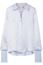 Roksanda | Roksanda - Kanika Silk-blend Satin-seersucker Shirt - Sky blue | Clouty