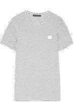 Acne Studios | Acne Studios - Nele Face Appliqued Striped Cotton-jersey T-shirt - White | Clouty