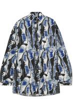 Marni | Marni - Oversized Printed Cotton-poplin Shirt - Blue | Clouty
