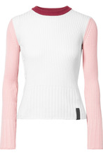 KENZO | KENZO - Color-block Ribbed Cotton And Cashmere-blend Sweater - White | Clouty