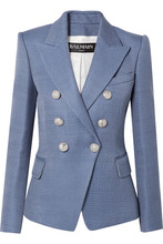BALMAIN | Balmain - Double-breasted Wool-hopsack Blazer - Blue | Clouty